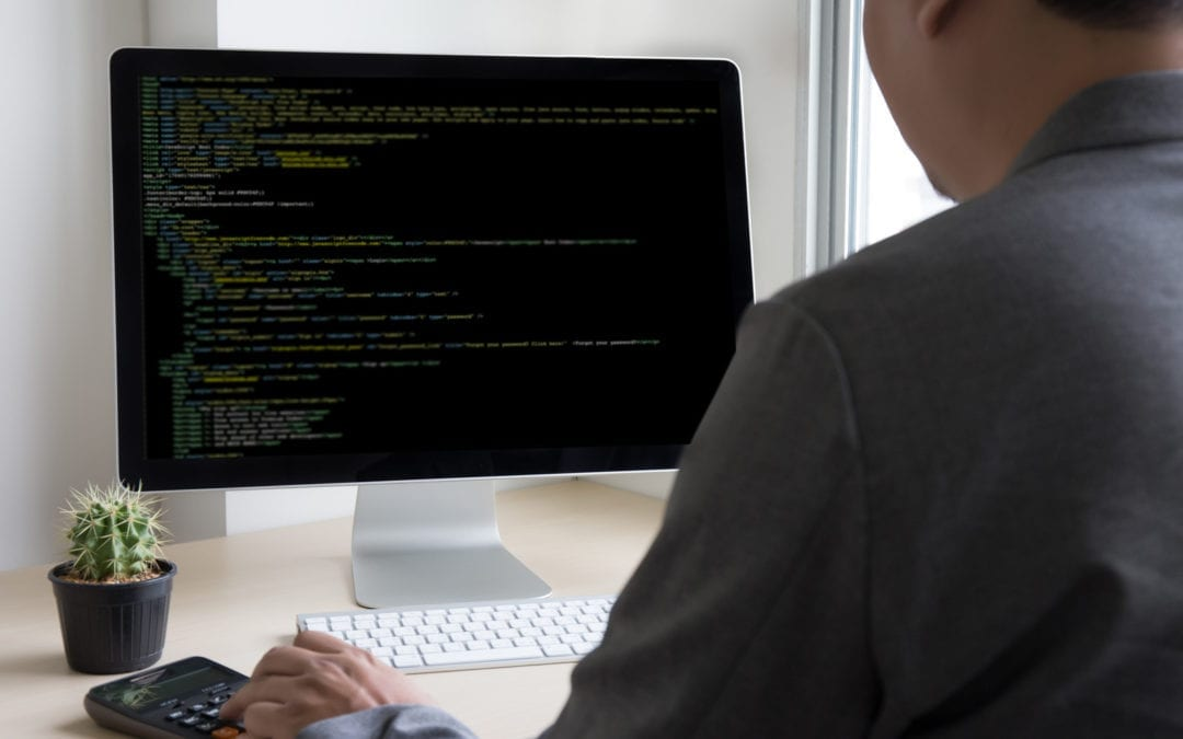 Man developing (coding) website on the laptop''